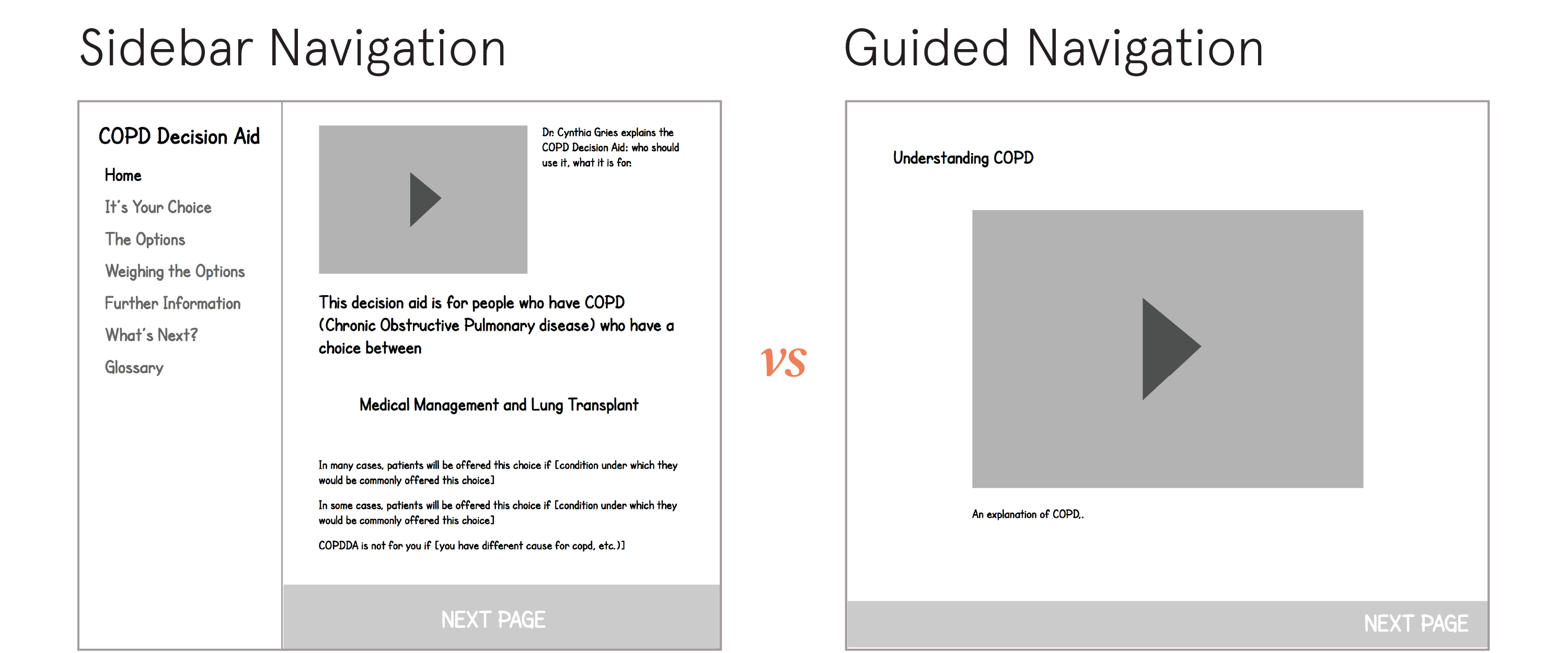 Sidebar vs Guided Navigation